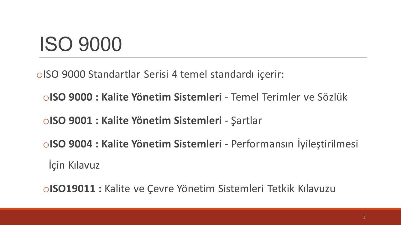 ISO 9000 ISO 9000 Standartlar Serisi 4 temel standardı içerir: