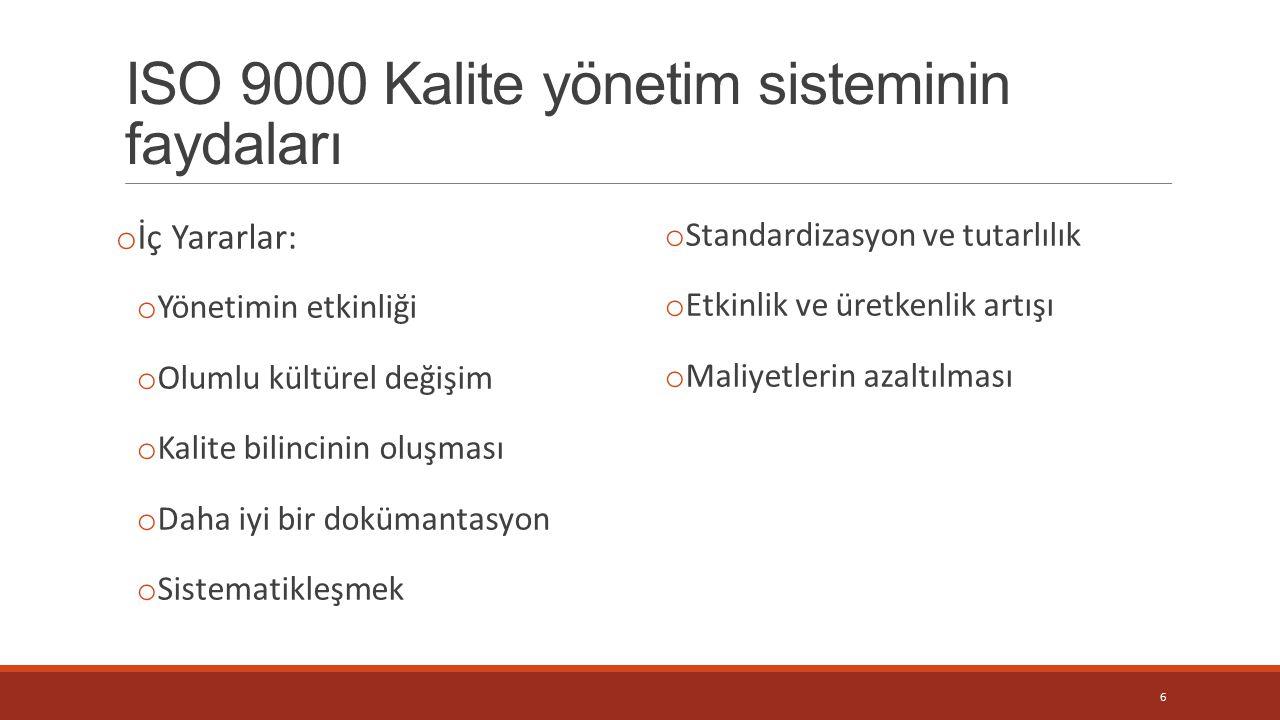 ISO 9000 Kalite yönetim sisteminin faydaları
