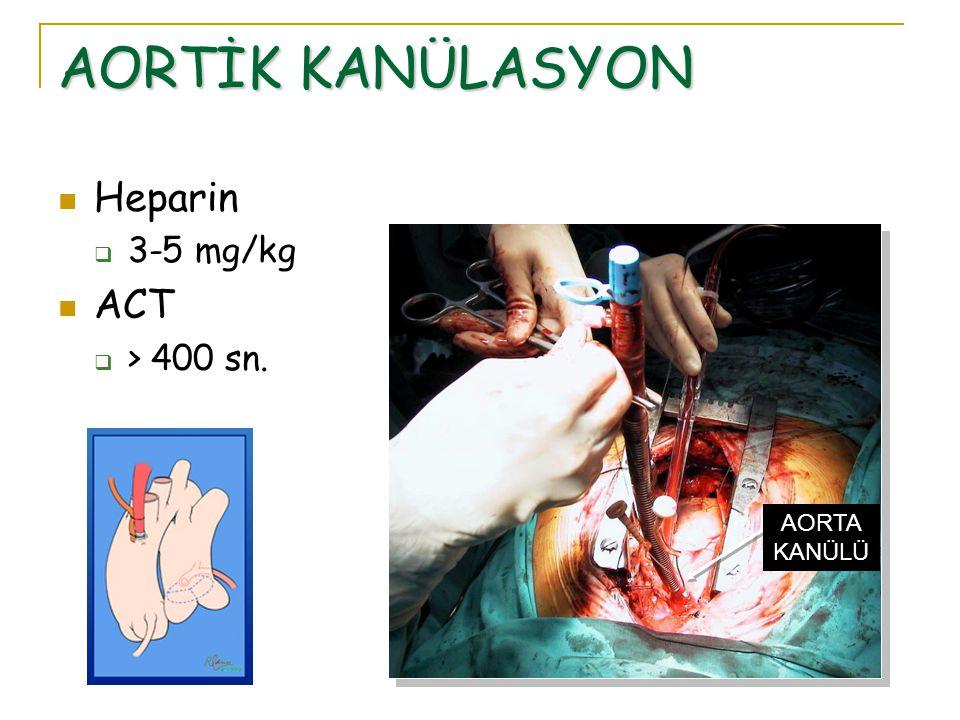 AORTİK KANÜLASYON Heparin 3-5 mg/kg ACT > 400 sn. AORTA KANÜLÜ