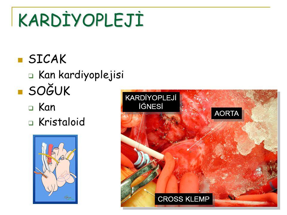 KARDİYOPLEJİ SICAK SOĞUK Kan kardiyoplejisi Kan Kristaloid