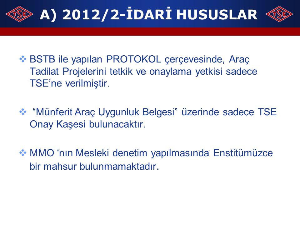 A) 2012/2-İDARİ HUSUSLAR BSTB ile yapılan PROTOKOL çerçevesinde, Araç Tadilat Projelerini tetkik ve onaylama yetkisi sadece TSE'ne verilmiştir.