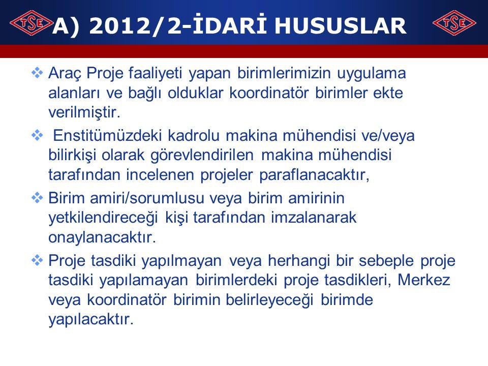 A) 2012/2-İDARİ HUSUSLAR Araç Proje faaliyeti yapan birimlerimizin uygulama alanları ve bağlı olduklar koordinatör birimler ekte verilmiştir.