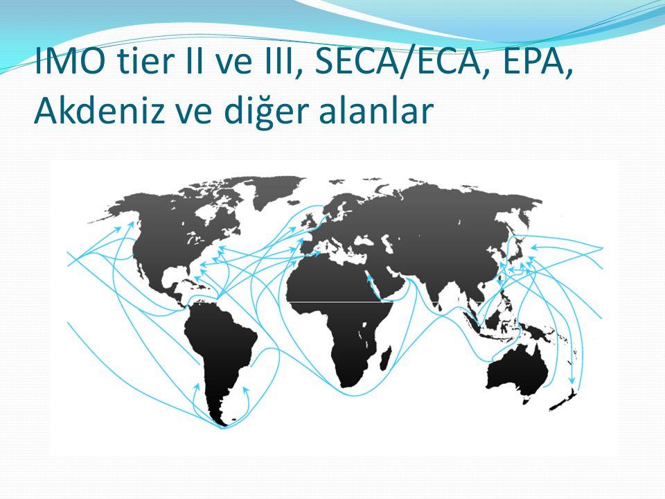 IMO tier II ve III, SECA/ECA, EPA, Akdeniz ve diğer alanlar