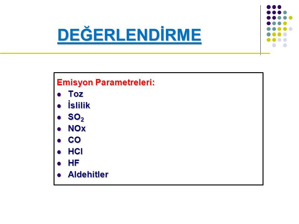 DEĞERLENDİRME Emisyon Parametreleri: Toz İslilik SO2 NOx CO HCl HF