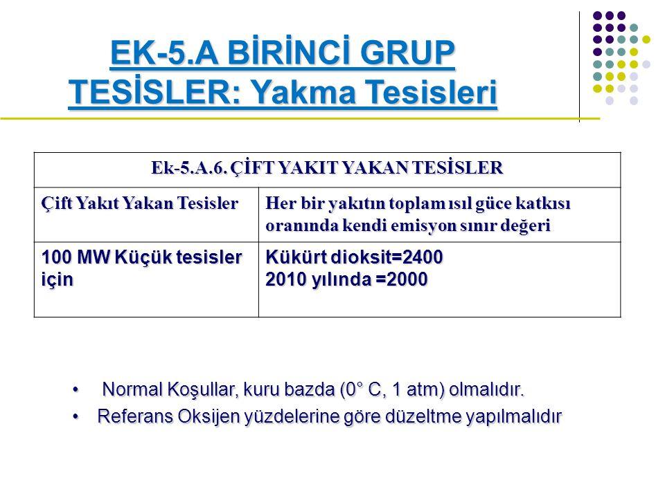 EK-5.A BİRİNCİ GRUP TESİSLER: Yakma Tesisleri