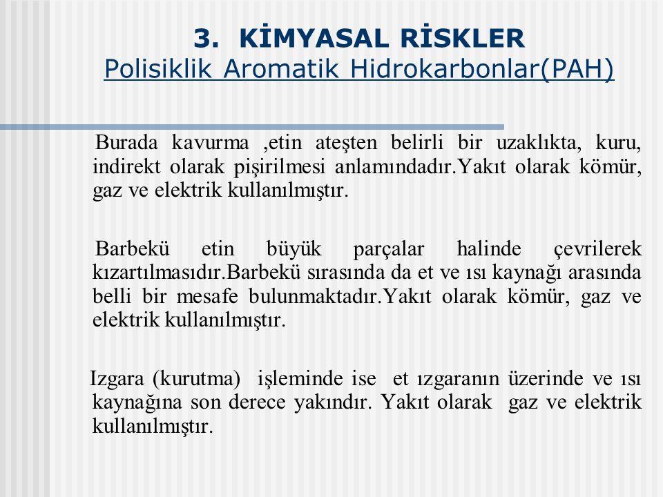 3. KİMYASAL RİSKLER Polisiklik Aromatik Hidrokarbonlar(PAH)