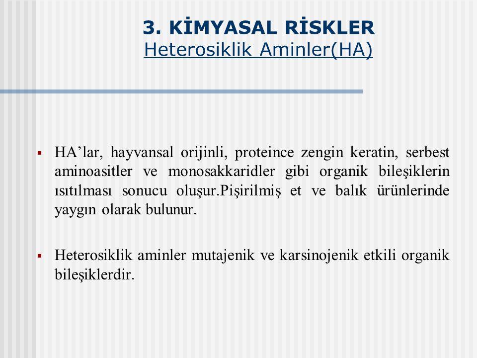 3. KİMYASAL RİSKLER Heterosiklik Aminler(HA)