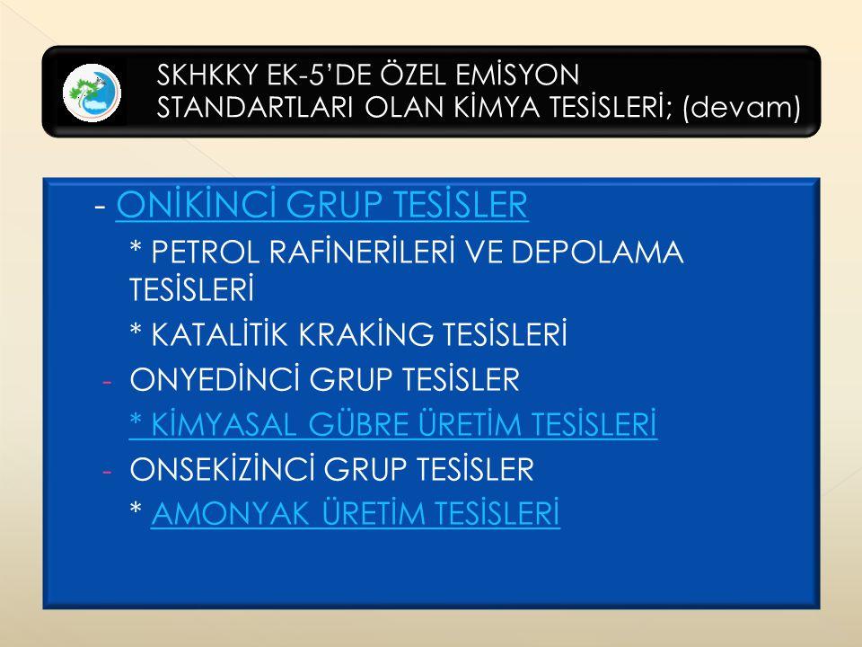 - ONİKİNCİ GRUP TESİSLER