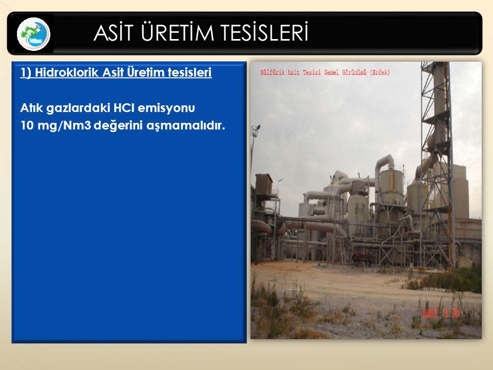 1) Hidroklorik Asit Üretim tesisleri Atık gazlardaki HCl emisyonu