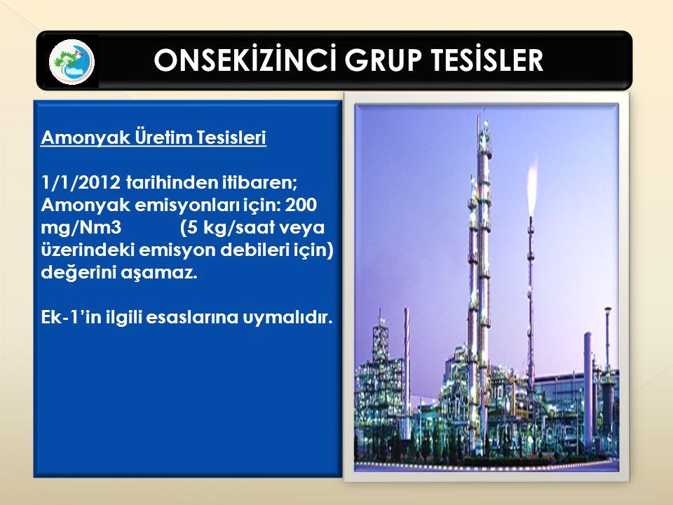 Amonyak Üretim Tesisleri 1/1/2012 tarihinden itibaren;