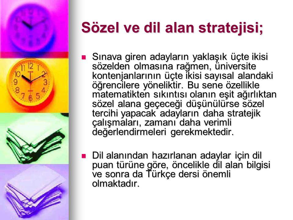 Sözel ve dil alan stratejisi;