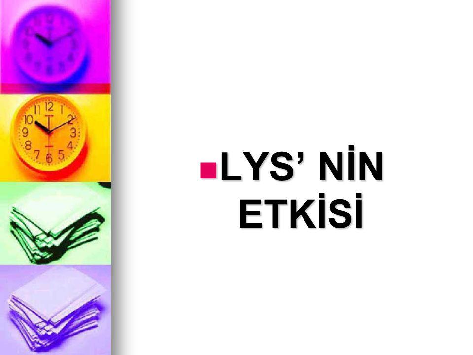 LYS' NİN ETKİSİ