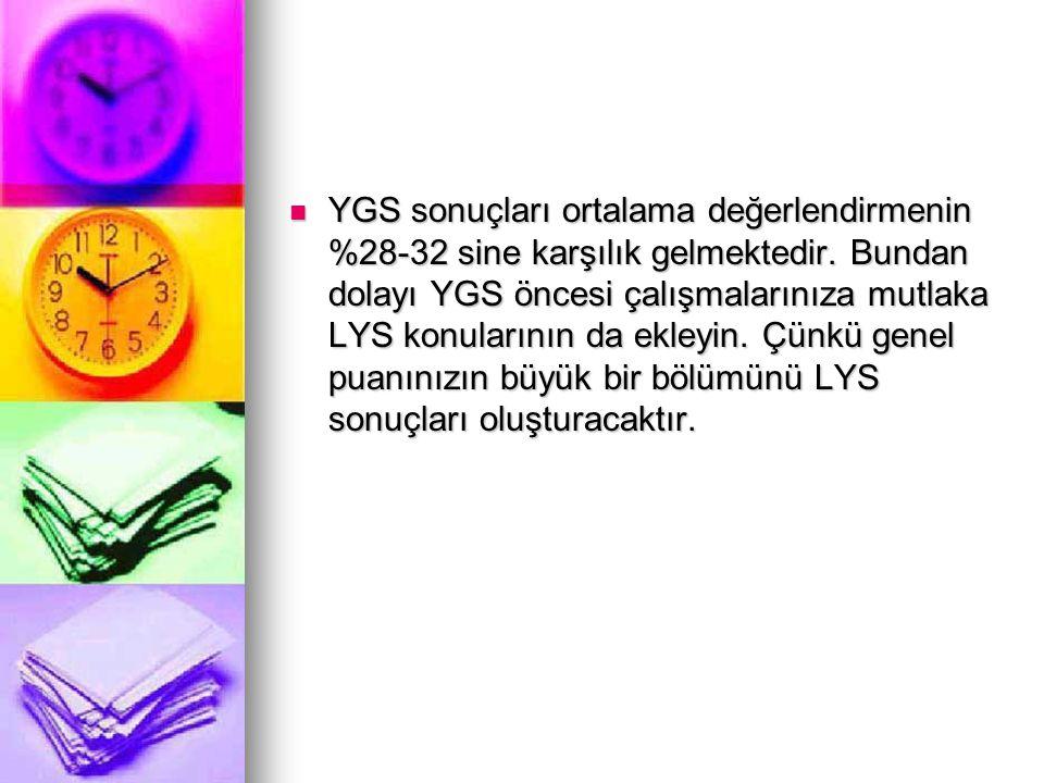 YGS sonuçları ortalama değerlendirmenin %28-32 sine karşılık gelmektedir.
