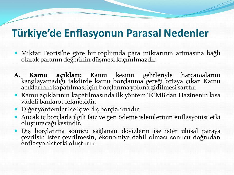 Türkiye'de Enflasyonun Parasal Nedenler