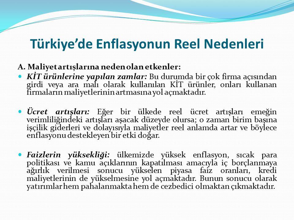Türkiye'de Enflasyonun Reel Nedenleri