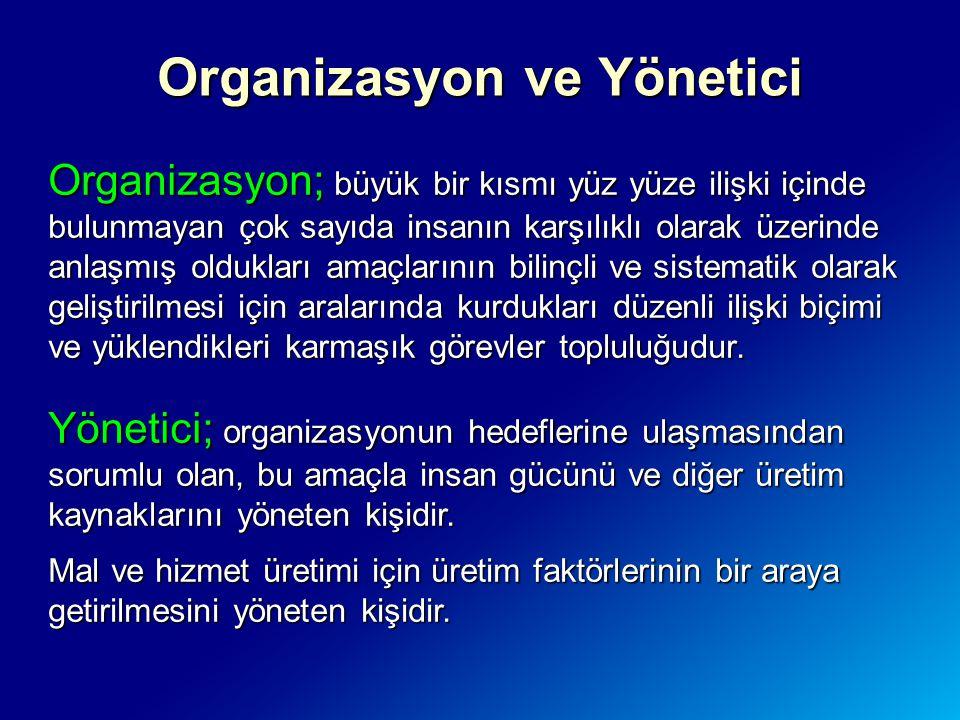 Organizasyon ve Yönetici