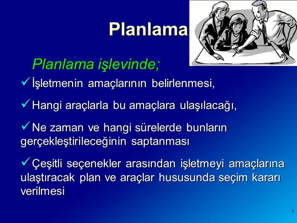 Planlama Planlama işlevinde; İşletmenin amaçlarının belirlenmesi,