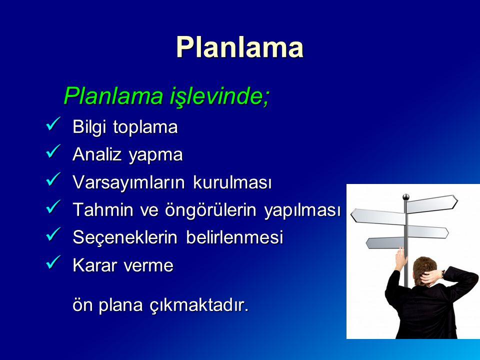 Planlama Planlama işlevinde; Bilgi toplama Analiz yapma