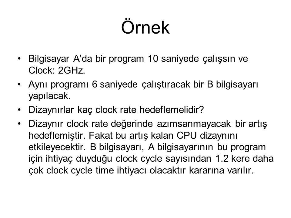 Örnek Bilgisayar A'da bir program 10 saniyede çalışsın ve Clock: 2GHz.