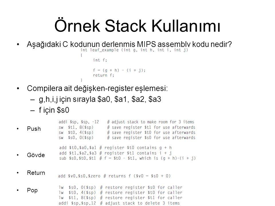 Örnek Stack Kullanımı Aşağıdaki C kodunun derlenmiş MIPS assembly kodu nedir Compilera ait değişken-register eşlemesi: