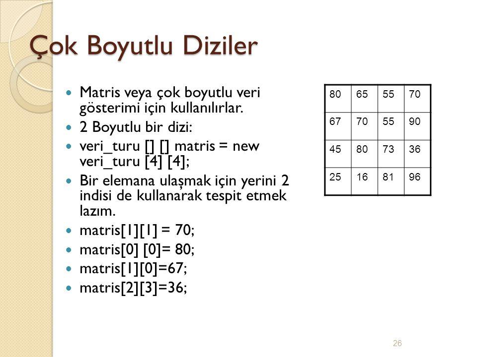 Çok Boyutlu Diziler Matris veya çok boyutlu veri gösterimi için kullanılırlar. 2 Boyutlu bir dizi: