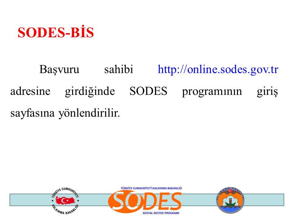 SODES-BİS Başvuru sahibi http://online.sodes.gov.tr adresine girdiğinde SODES programının giriş sayfasına yönlendirilir.