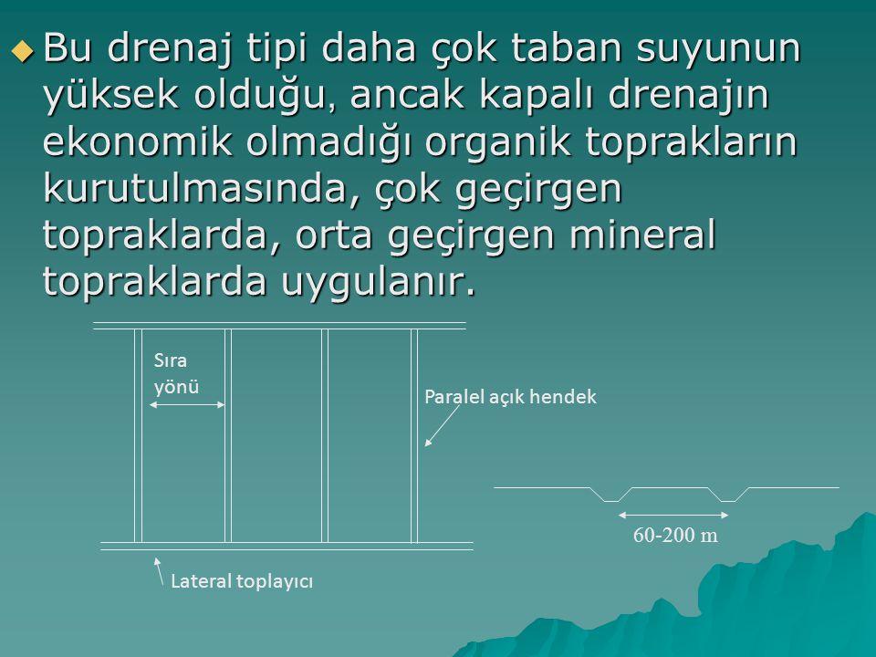 Bu drenaj tipi daha çok taban suyunun yüksek olduğu, ancak kapalı drenajın ekonomik olmadığı organik toprakların kurutulmasında, çok geçirgen topraklarda, orta geçirgen mineral topraklarda uygulanır.
