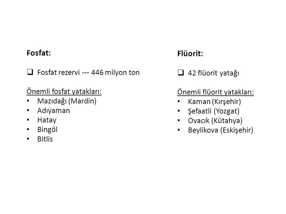 Fosfat: Flüorit: Fosfat rezervi --- 446 milyon ton 42 flüorit yatağı
