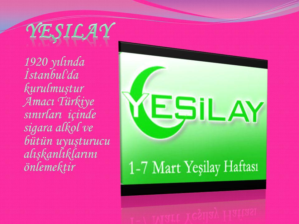 yeşilay 1920 yılında İstanbul da kurulmuştur Amacı Türkiye sınırları içinde sigara alkol ve bütün uyuşturucu alışkanlıklarını önlemektir.