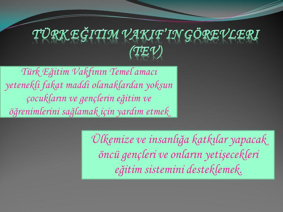 Türk eğitim vakif'in görevleri (tev)