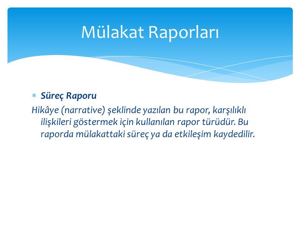 Mülakat Raporları Süreç Raporu