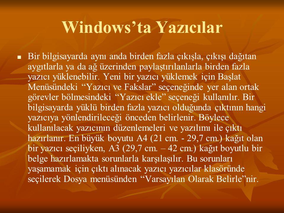 Windows'ta Yazıcılar