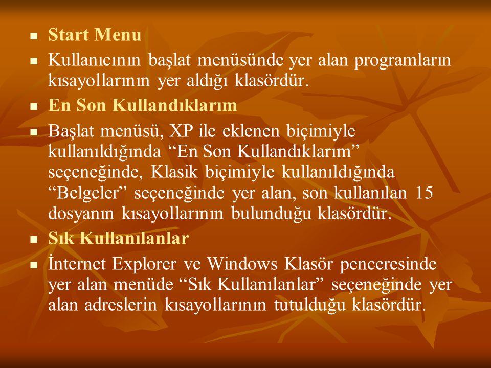 Start Menu Kullanıcının başlat menüsünde yer alan programların kısayollarının yer aldığı klasördür.