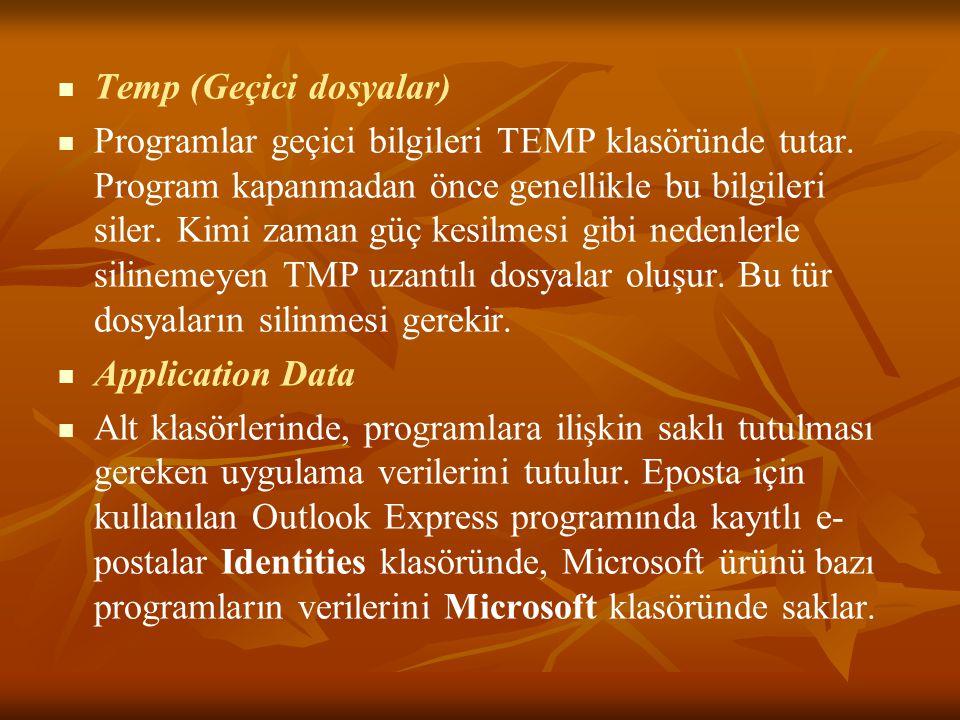Temp (Geçici dosyalar)