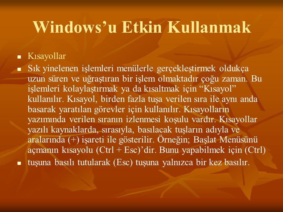 Windows'u Etkin Kullanmak