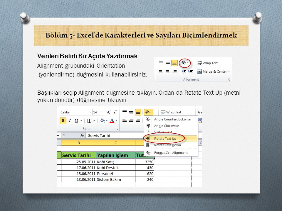 Bölüm 5- Excel'de Karakterleri ve Sayıları Biçimlendirmek