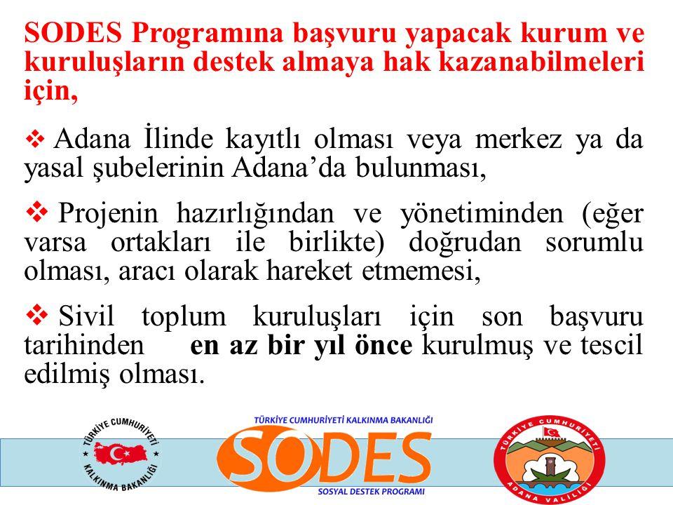 SODES Programına başvuru yapacak kurum ve kuruluşların destek almaya hak kazanabilmeleri için,
