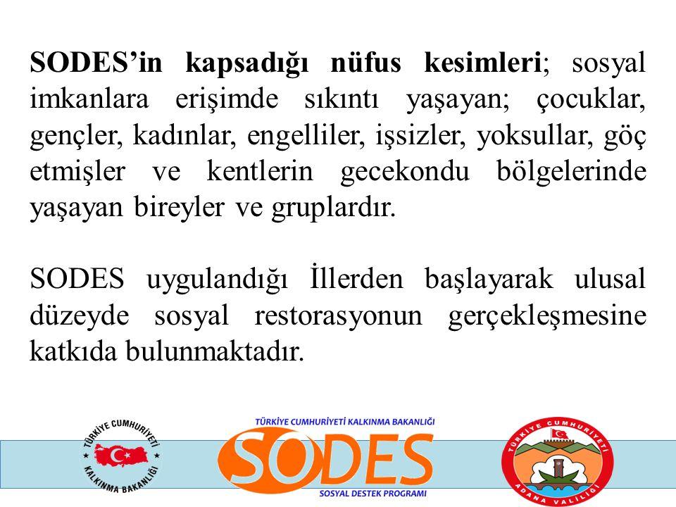 SODES'in kapsadığı nüfus kesimleri; sosyal imkanlara erişimde sıkıntı yaşayan; çocuklar, gençler, kadınlar, engelliler, işsizler, yoksullar, göç etmişler ve kentlerin gecekondu bölgelerinde yaşayan bireyler ve gruplardır.