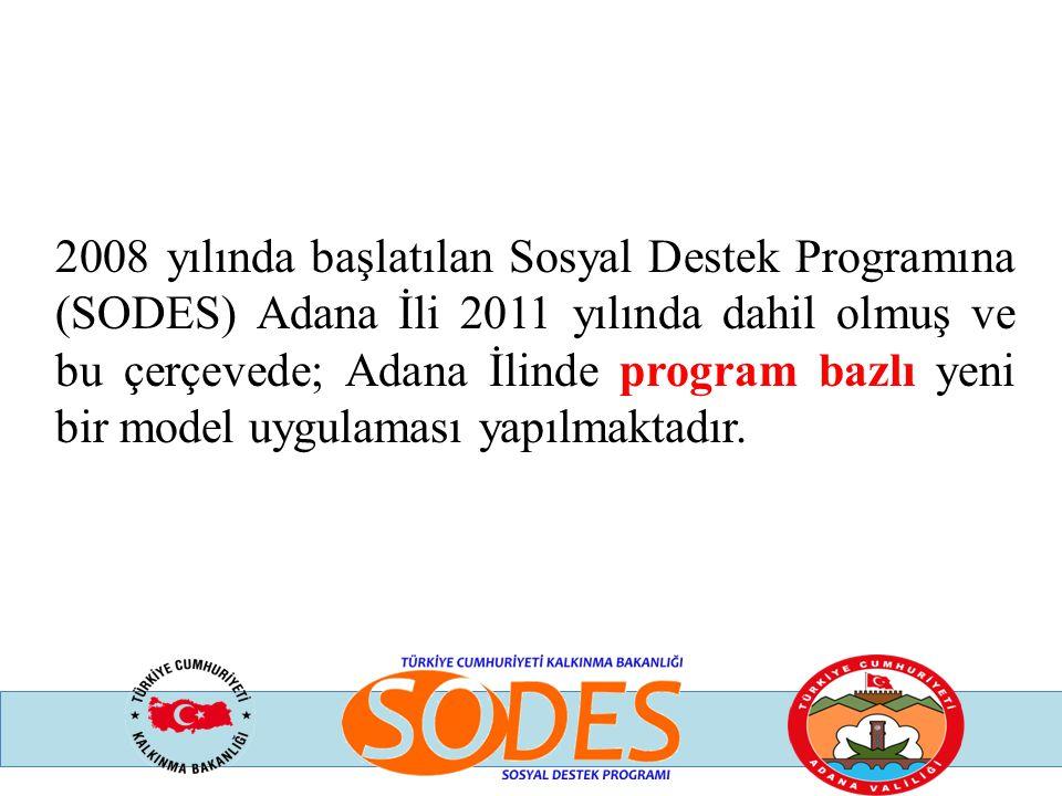 2008 yılında başlatılan Sosyal Destek Programına (SODES) Adana İli 2011 yılında dahil olmuş ve bu çerçevede; Adana İlinde program bazlı yeni bir model uygulaması yapılmaktadır.