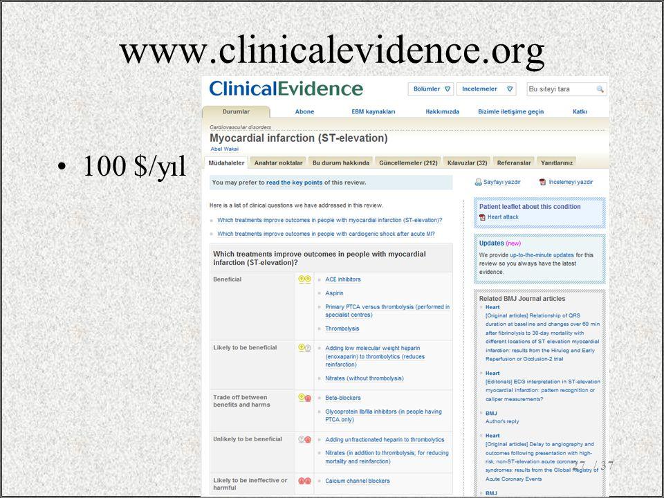 www.clinicalevidence.org 100 $/yıl / 37