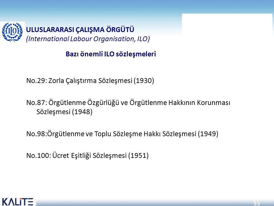 Bazı önemli ILO sözleşmeleri
