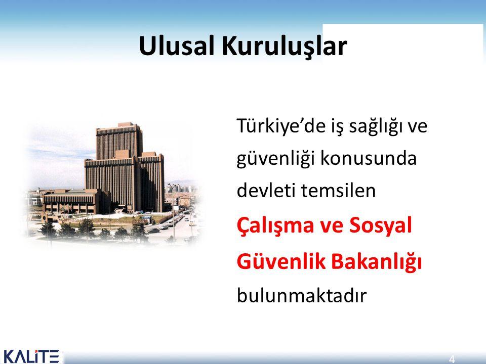 Ulusal Kuruluşlar Türkiye'de iş sağlığı ve güvenliği konusunda devleti temsilen Çalışma ve Sosyal Güvenlik Bakanlığı bulunmaktadır.