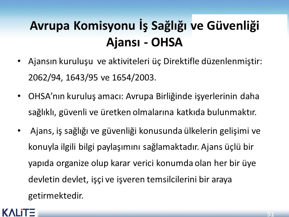 Avrupa Komisyonu İş Sağlığı ve Güvenliği Ajansı - OHSA