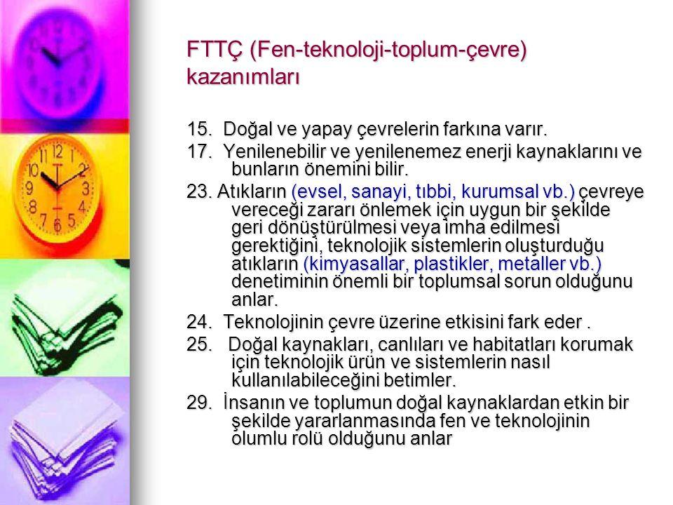 FTTÇ (Fen-teknoloji-toplum-çevre) kazanımları
