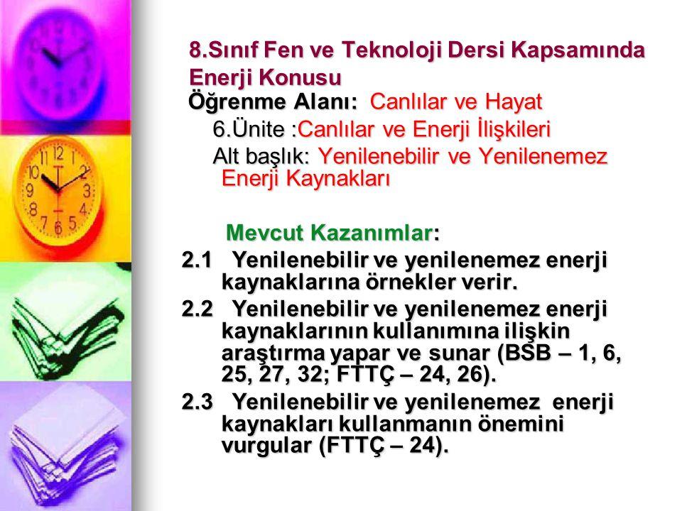 8.Sınıf Fen ve Teknoloji Dersi Kapsamında Enerji Konusu