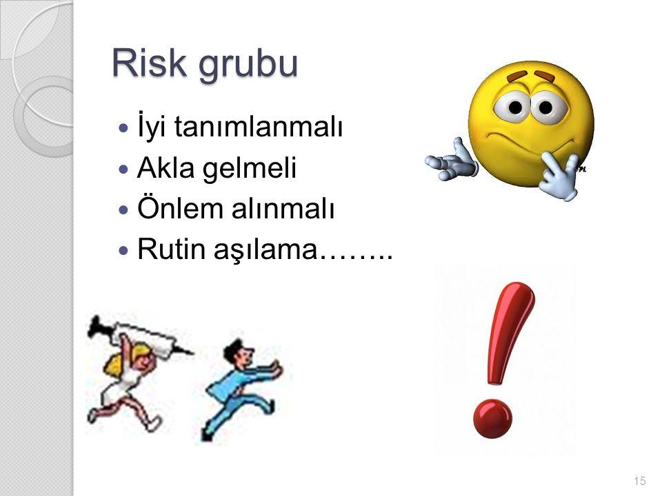 Risk grubu İyi tanımlanmalı Akla gelmeli Önlem alınmalı
