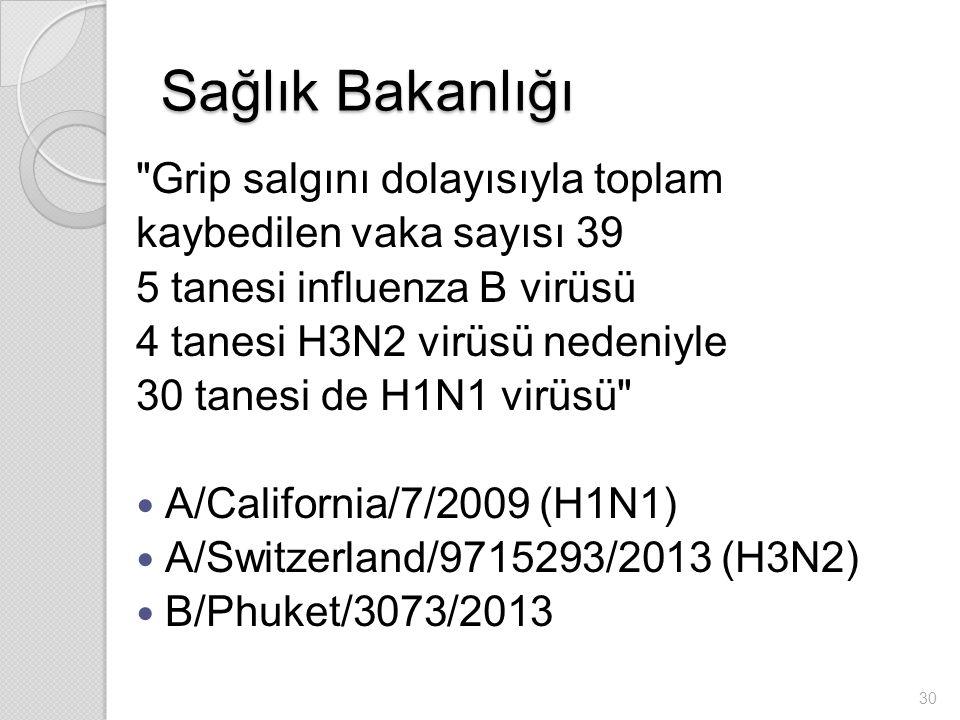 Sağlık Bakanlığı Grip salgını dolayısıyla toplam