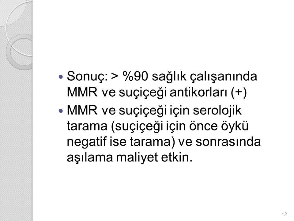 Sonuç: > %90 sağlık çalışanında MMR ve suçiçeği antikorları (+)