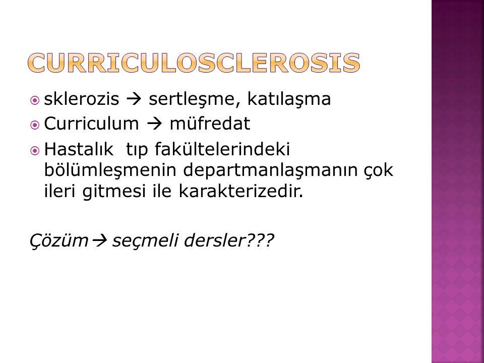Curriculosclerosis sklerozis  sertleşme, katılaşma
