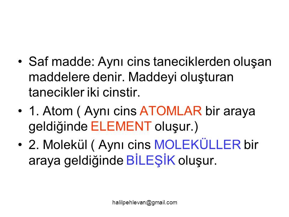 1. Atom ( Aynı cins ATOMLAR bir araya geldiğinde ELEMENT oluşur.)